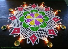 Rangoli Designs Diwali, Rangoli Designs With Dots, Kolam Rangoli, Beautiful Rangoli Designs, Kolam Designs, Diwali And Holi, New Year Rangoli, Festival Rangoli, Latest Rangoli