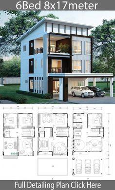 Modern House Floor Plans, Sims House Plans, House Layout Plans, Dream House Plans, Small House Plans, Town House Floor Plan, 6 Bedroom House Plans, Hotel Floor Plan, Duplex House Plans