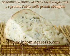 """Dal 16 al 18 maggio 2014 Piazza Grande ospita il """"Gorgonzola Show"""", siete tutti invitati, è gradito l'abito delle grandi abbuffate. Questa è la cartolina dei nostri hotel per celebrare l'evento"""