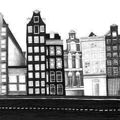 Print Illustration Amsterdam City Drawing Artwork von paulinepolom