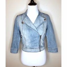 Zip Denim Crop Jean Jacket In like-new condition! Absolutely no flaws, still looks brand new. Cropped at the waist and arms are 3/4 sleeves. Looks best when zipped up because the front is long when unzipped. Rubbish Jackets & Coats