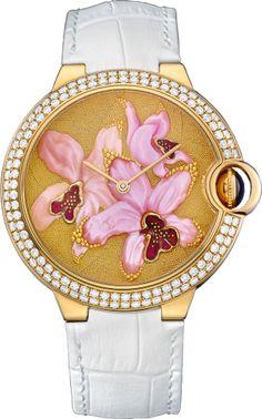 Cartier d'Art Ballon Bleu de Cartier watch with granulation and orchid décor engraved mother-of-pearl. 42 mm, 18K yellow gold, leather, sapphire, diamonds