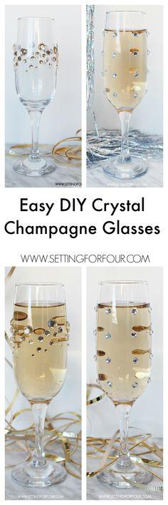 Quick and Easy DIY Rhinestone Champagne Glasses