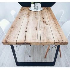 Amazing new inspiration reclaimed plank table ideas Oak Table Top, Wood Table, Trestle Table, Rustic Table, Home Furniture, Furniture Design, Plank Table, Table Legs, Industrial Table