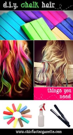 Quick and easy DIY Hair Color Tutorial   using hair chalk. except you can't brush through your hair when you do this so i   can only do it when I curl my hair and can't brush it anyways..