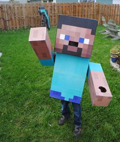 Minecraft steve costume, omg my 8 yr old wants to be a guy from mindcraft or whatever so this helps a lot!!!!!!
