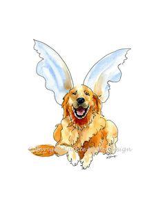 Pet Portraits Golden Retriever with Angel Wings in by WildFernFarm, $18.00