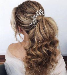Long Hair Wedding Styles, Wedding Hair Pins, Wedding Hairstyles For Long Hair, Bride Hairstyles, Down Hairstyles, Long Hair Styles, Country Wedding Hairstyles, Evening Hairstyles, Hairstyle Wedding