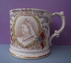 Antique Royal Commemorative Pottery Mug Queen Victoria 60 Years on Throne in Pottery, Porcelain & Glass, Porcelain/China, Commemorative Ware | eBay