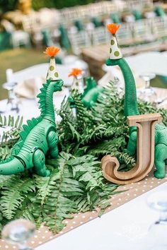Dinosaur Table Centerpiece from a Roaring Dinosaur Birthday Party on Kara's Party Ideas | KarasPartyIdeas.com (4)