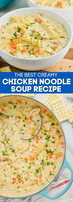 Creamy Chicken Noodle Soup is the ultimate comfort food! Your favorite soup recipe, but creamy and delicious. This soup recipe is a perfect side, but hearty enough to be dinner!