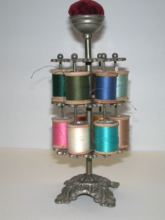 Victorian Thread Tree or Spool Holder & Pin Cushion Sewing Antique 1880's