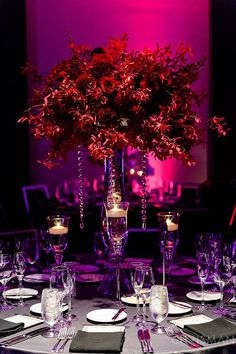 Option 2 centerpiece - tall vase with large dark red centerpiece