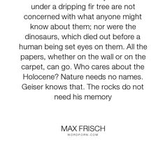 """Max Frisch - """"The ants Geiser recently observed under a dripping fir tree are not concerned with..."""". knowledge, nature, memory"""