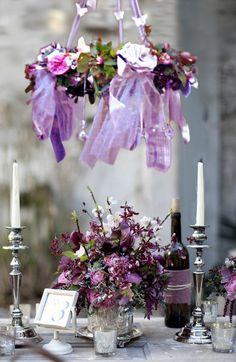 Beautiful garden table, in purple tones ~ love the handmade chandelier~❥