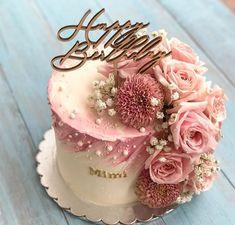 Elegant Birthday Cakes, Birthday Cake With Flowers, Beautiful Birthday Cakes, Birthday Cakes For Women, Beautiful Cakes, Cake Birthday, 31st Birthday, Birthday Ideas, Cake Decorating Designs