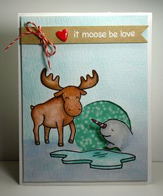 Lawn Fawn Critters in the Arctic set - Watercolor with embossed sentiment