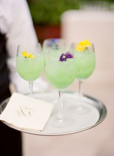 Green Wedding Cocktails  Photography: KT Merry Photography Read More: http://www.insideweddings.com/weddings/soft-hued-spring-wedding-at-the-breakers-in-palm-beach-florida/581/