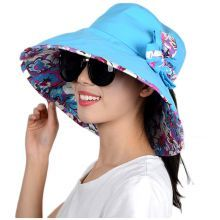 Floral lined wide brim bucket hat with flower packable sun hats for women 450f2a13e29a