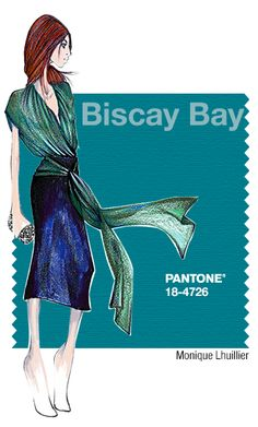 Monique Lhuillier in Pantone Biscay Bay - FALL 2015 PANTONE's Fashion Color Report