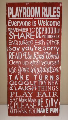 Primitive Distressed Playroom Play Room Rules Subway Art by erinjt,
