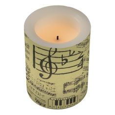 Music Note Pattern Music Theme LED Candle