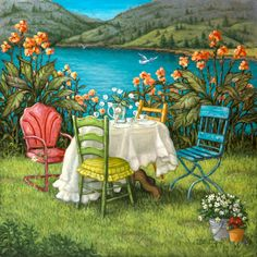 Table for Four, an idyllic painting by artist Janet Kruskamp, one of her Exterior series. In front of an azure lake a table with white table...