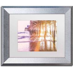 Trademark Fine Art 'Newport Pier Sunset 2' Canvas Art by Ariane Moshayedi, White Matte, Silver Frame, Size: 11 x 14, Multicolor