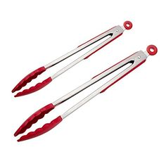 Silicone Tongs DONGJI Premium quality Silicone Stainless Steel Tongs Silicone Cooking Utensils 2 Pack & in Graphite red) Silicone Kitchen Utensils, Cooking Utensils Set, Cooking Tools, Barbecue, Outdoor Barbeque, Bbq Tongs, Grill Accessories, Cooking On The Grill, Utensil Set