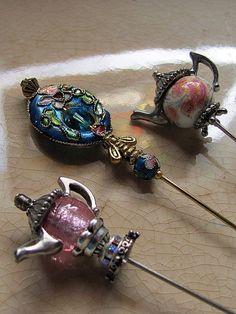 victorian hat pins | Victorian Cloisonne and Tea Pot Hat Pins by GardenOfWeedinGirl