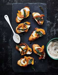 Squash Crostini With Whipped Ricotta Whole Roasted Cauliflower, Cauliflower Recipes, Carrot Recipes, Fall Recipes, Kombucha, Vegetable Side Dishes, Vegetable Recipes, Turnip Salad, Roasted Beet Salad