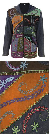 Cotton, hand-embroidered, hooded fair trade jacket from Nepal.  Beautiful.