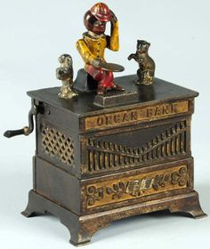 Old Organ Cat & Dog Mechanical Bank, Manufactured by H.L. Judd Manufacturing Co.