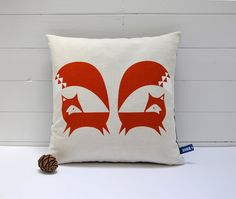 Hand Screen Printed Fox Cushion Cover in Burnt von robinandmould