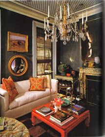 The Peak of Chic® Great contrast of dark walls and pop of color Living Room Designs, Living Room Decor, Living Spaces, Living Rooms, Dark Interiors, Beautiful Interiors, Urban Deco, Design Salon, Dark Walls
