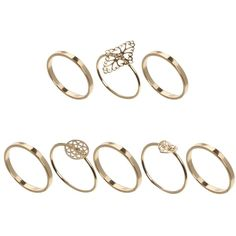 ASOS Filigree Fine Stack Rings (46 RON) ❤ liked on Polyvore featuring jewelry, rings, accessories, anillos, gold, stackers jewelry, stacking rings jewelry, asos, filigree ring and asos jewelry