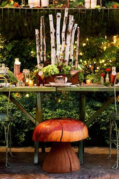 What's more charming than a toadstool seat? Woodland Whimsy at it's finest. Photo Shoot designed by: PolkaDotsandDaisies.com & BranchesFloralDesign.com. Photo by: AzureBPhotography.blogspot.com.