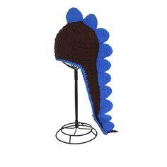 BLACK AND BLUE DINOSAUR KNIT HAT