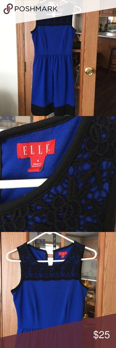 Very pretty dress So pretty; feminine and can be used all seasons except summer - depending on where you live of course . Gorgeous royal blue and black. Nice for office or wherever. Nice lace detail. Purchased at Kohl's Elle Dresses Midi