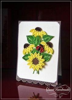 Quilling - Sunflower card Paper Quilling Tutorial, Paper Quilling Designs, Quilling Patterns, Quilling Work, Quilling Craft, Quilling Ideas, Sunflower Cards, Diy And Crafts, Paper Crafts