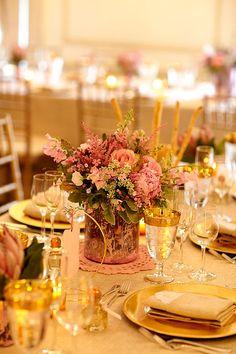 Pretty pink mercury glass for wedding tabletop