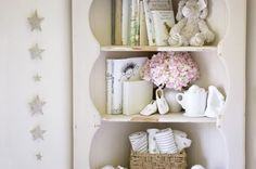 corner shelves beige nursery