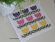 Ravelry: Vårtegn grytekluter pattern by Line Eriksen Potholder Patterns, Crochet Potholders, Knit Dishcloth, Knit Patterns, Knit Crochet, Crochet Home Decor, Fair Isle Knitting, Knitting Charts, Drops Design