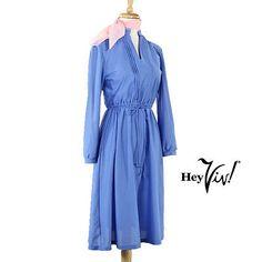 70s-High-Collar-Day-Dress-Vintage-Cornflower-Blue-w-Pleats-S-M-Hey-Viv