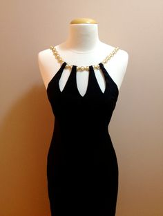 Vintage 90s Black Cocktail Dress with Chain Strap by DeanAndMonroe, $68.00