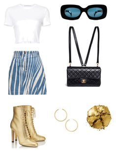 """""""Untitled #1103"""" by soymilkmami ❤ liked on Polyvore featuring Jimmy Choo, Roberto Cavalli, Versace, Chanel, Rosetta Getty, BaubleBar and Pat McGrath"""