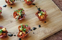 Rocky Ford Cantaloupe & Capicola bites with basil and balsamic