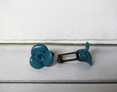 Blue Teal Cufflinks Wedding Rose Cufflinks in by BijottiCiciotti