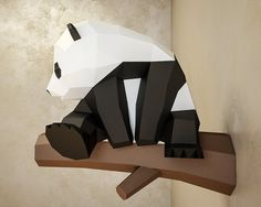 Papercraft Little Panda DIY Paper craft template PDF kit 3d Paper Crafts, Paper Toys, Diy Paper, Low Poly, 3d Models For Printing, 3d Printing, 3d Modelle, Little Panda, 3d Quilling