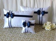Set of white satin wedding kneeling pillows and a ring pillow with navy blue bow, 2 ceremony prayer pillows and a ring pillow by DittaDesign on Etsy Wedding Prayer, Small Curtains, Hand Embroidery Dress, Blue Bow, Navy Blue, Stylish Beds, Ring Pillow Wedding, How To Make Pillows, Sofa Pillows